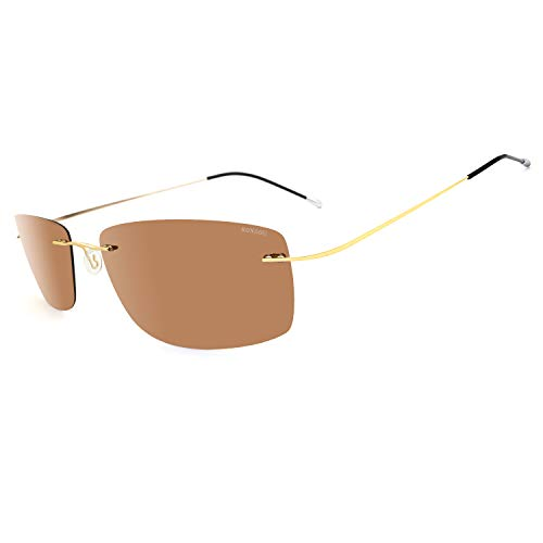 RONSOU Ultraleichte Randlose Titanmode Polarisierte Sonnenbrille für den Außenbereich_Goldener Rahmen Braune Linse