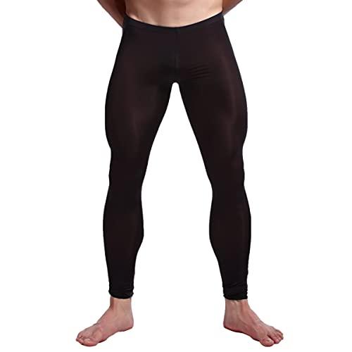 inhzoy Leggings Elásticos Ajustados de Color Puro para Hombre Pantalones para Gimnasia Yoga Baile Deportes Ciclismo de Cintura Elástica Negro XXL