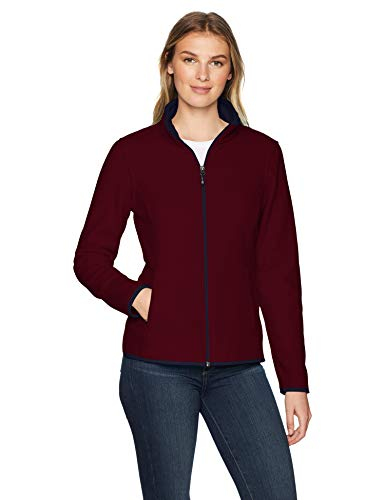 Amazon Essentials Women's Classic Fit Long-Sleeve Full-Zip Polar Soft Fleece Jacket, Burgundy/Navy, X-Large