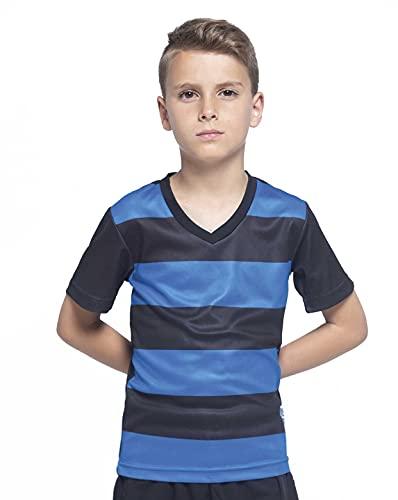 JHK T-SHIRT Camiseta de rayas horizontales de fútbol para niño con cuello de pico, Talla 5-6 años (Bicolor: Blanco y Azul) Teamwear Kid Celtic CELTICTSK