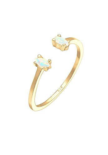 Elli Ring Damen Oval Geo Opal Offen Verstellbar in 925 Sterling Silber