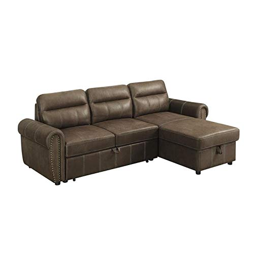 BOWERY HILL Ashton Saddle Brown Microfiber Reversible Sleeper/Sectional Sofa with Storage