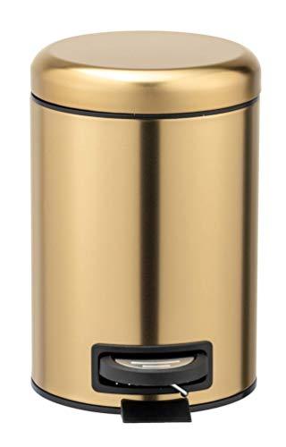 WENKO Cubo de pedal Leman oro mate - Cubo de cosmética, cubo de basura con recubrimiento anti-huellas dactilares Capacidad: 3 l, Acero inoxidable, 17 x 25 x 22.5 cm, Oro