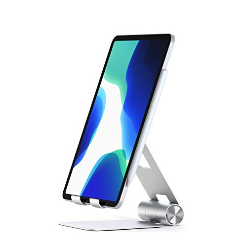 Satechi R1 Aluminum Multi-Angle Foldable Tablet Stand - Compatible with 2020/2018 iPad Pro, 2020 iPad Air, iPhone 12 Pro Max/12 Mini/12, 11 Pro Max/11 Pro, Xs Max/XS/XR/X, 8 Plus/8 (Silver)
