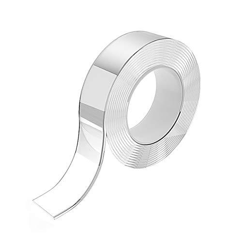 SoeKewo 両面テープ 超強力 滑り止めテープ 強力 粘着両面テープ はがせる透明 耐熱 防水 魔法のテープ キッチン、バスルーム、ガラス窓、バルコニー、車など、多くの場所に適している (3m*3cm*0.2cm)