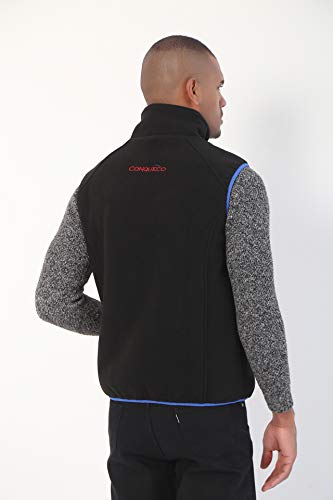 CONQUECO Heated Vest Electric Polar Fleece Gilet Winter Warm Clothing With Battery Pack for Outdoors, Black, XL