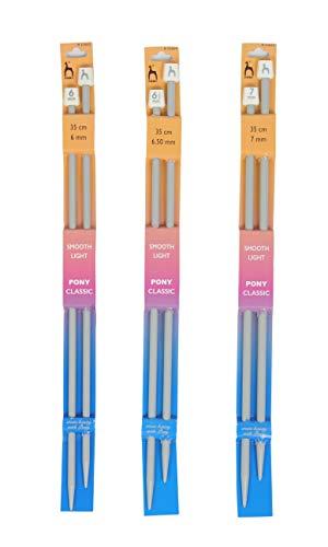Vardhman Pony Classic Knitting Pack of no, 2, 3, 4, Smooth Light 35 cm Long Plastic Needles