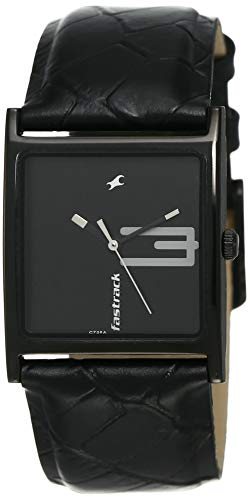 Fastrack Women's Casual Watch - Quartz, Water Resistant, Leather Strap – Black Band and Black Dial