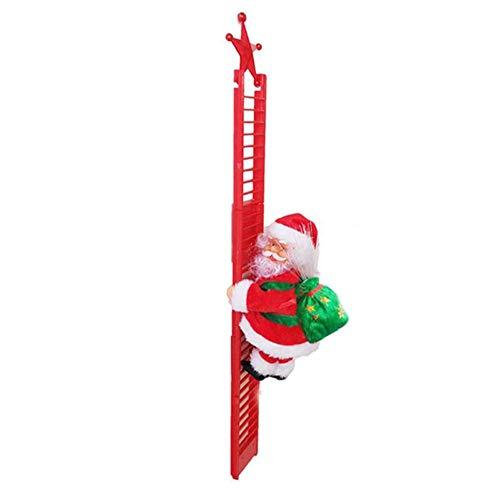 LeftSuper Santaclimbingtoy Christmas Props Santa Claus Climbing Ladder Modeling Electric Climbing Ladder