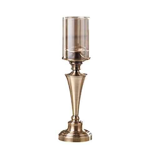 Candelero Tenedor de vidrio de hardware Soporte de vela de aromaterapia de alta gama Holdo de la vela de la luz de la luz de las velas Adornos de decoración de la tabla para enviar velas Candelero dec