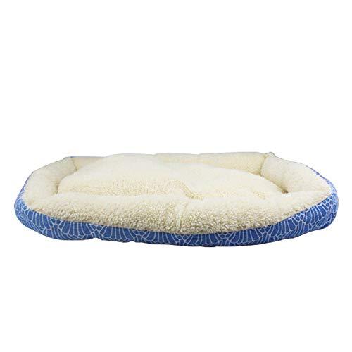 Cama para Perros de Felpa Suave y cálida Cama para Perros Cama para Dormir mullida sofá para Mascotas Perros pequeños y medianos de Varios tamaños -Viento patrón Azul 56cm
