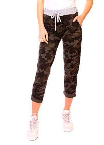 Easy Young Fashion Damen Hose Jogginghose Boyfriend Sweatpants Sweat Jogger Sporthose One Size Camouflage dunkel