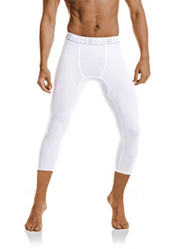 saraca core Men Youth Compression 3/4 Capri Pants Basketball Soccer Football Tights Running Leggings Shorts(WhiteC,Small