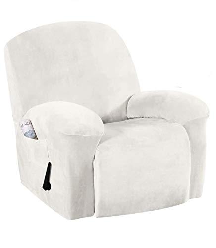 E EBETA Samt-Optisch Stretchhusse für Relaxsessel Sesselbezug, Komplett Sesselschoner, Elastisch Bezug für Fernsehsessel Liege Sessel (Weiß)