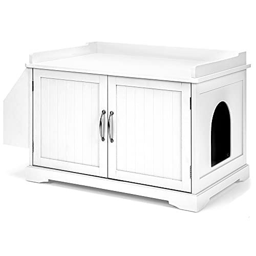 Best Choice Products Large Wooden Indoor Cat Litter Box Enclosure Cabinet, Side Table, Storage Bench Furniture for Living Room, Bedroom, Bathroom w/Magazine Rack - White