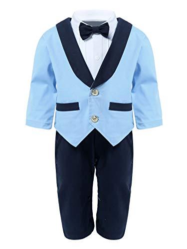 FEESHOW 2pcs Kleinkind Baby Jungen Anzug Gentleman Outfit Langarm Jumpsuit Spielanzug mit Tuxedo Mantel Taufe Smoking Anzug 0-24 Monate Himmelblau 62-68