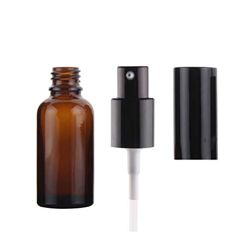 bubussv 24 Stück 50ml Leer Amber Braun Glas Pumpe Lotion Flaschen für ätherisches Öl Parfüm Massage-Öl Augencreme Proben mit Schwarzem Deckel
