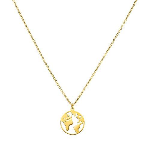 Purelei Halskette World Map (World Map-Gold)
