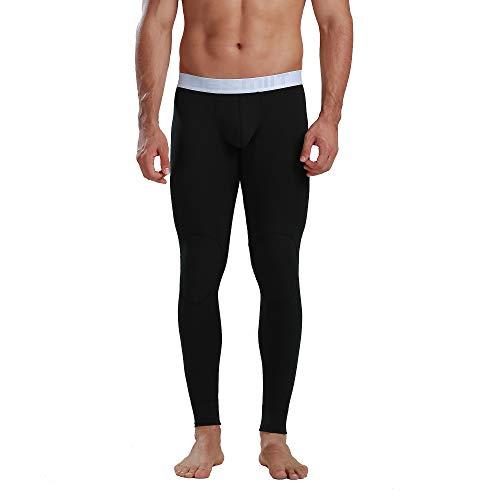 DESMIIT Men's Solid Soft Modal Long Underwear Warm Thin Inner Pants Big Pouch Black