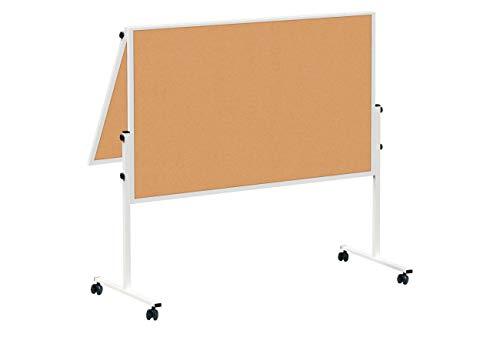 MAUL Moderationstafel Solid 150 x 120cm, Beidseitig nutzbare Pinnwand mit Kork Oberfläche, Klappbar, Mit Stellfüßen, Inklusive Rollensatz (4 Rollen), Natur, 6366882, 1 Stück