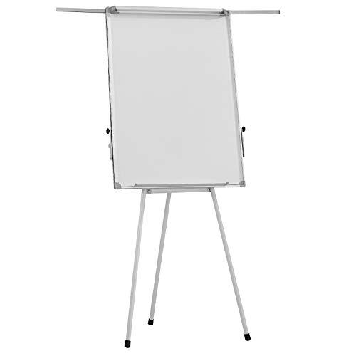 Flipchart - 60 x 90, höhenverstellbar, 2 Seitenarme, inkl. Papier, Marker, Magnete, Schwamm, Papierhalterung, mit Ständer, Weiß - Whiteboard, Magnettafel