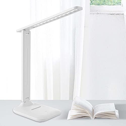 SJNSJN Lámpara Escritorio LED, Lámp de Noche Atenuación Continua de 3 Temperaturas Color, Interruptor Tactil Puerto Carga USB Lampara Mesa, Soporte para Teléfono Móvil Plegable Luz de Iluminación