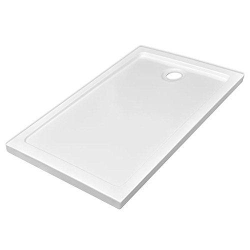 vidaXL Plato Ducha Rectangular Antideslizante ABS Blanco 70x120 cm Placa Baño