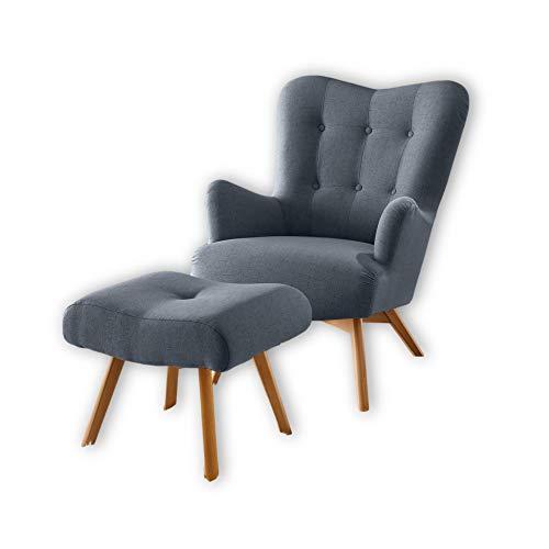 Stella Trading ARNDT Sessel mit Hocker und geknöpfter Polsterung, Steel Grey - Wohnzimmer Fernsehsessel mit Massivholz Füßen & Microvelours Bezug - 77 x 101 x 100 cm (B/H/T)