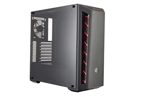 Cooler Master MasterBox MB510L - Caja de Ordenador PC ATX con Textura de Carbono, Entradas Aire, Panel Lateral Transparente, Configuraciones Flujo de Aire Flexible - Ingestas en Rojo