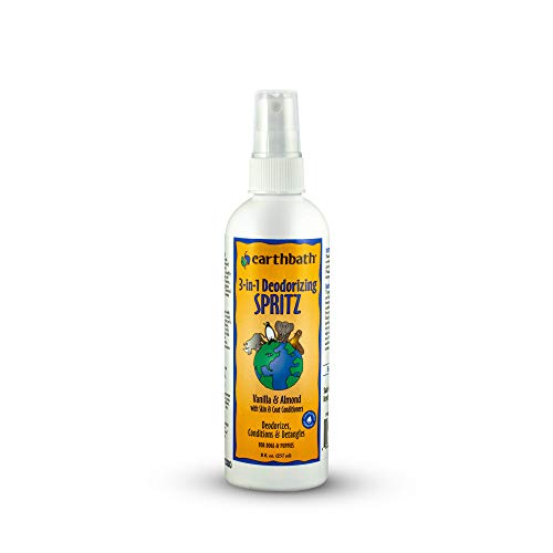 earthbath 3-in-1 Spritz, Dog & Puppy Deodorizing Spray, Vanilla & Almond, 8 oz – Detangles, Deodorizes & Conditions – Made in USA