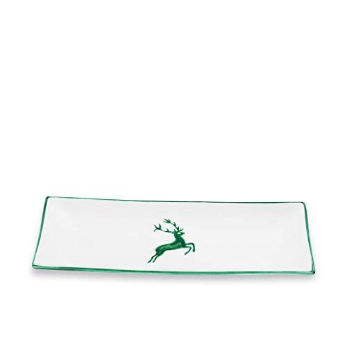 GMUNDNER KERAMIK Platte rechteckig Grösse: l= 36 cm x b= 15 cm x h= 2.8 cm grüner Hirsch Geschirr, handgemacht in Österreich