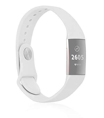 MyGadget Armband für Fitbit Charge 3/4 - Ersatzband für Smartwatch aus Soft Silikon - Sport Uhr Bracelet für Damen & Herren (ohne Tracker) - Weiß