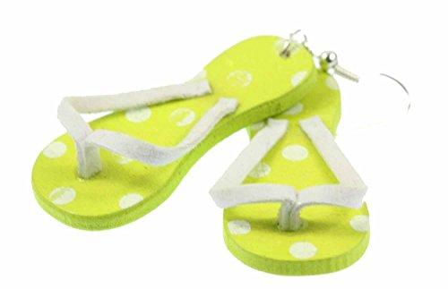 Miniblings Badelatschen Ohrringe Zehentrenner Badeschuhe Ferien Sandalen grün - Handmade Modeschmuck I Ohrhänger Ohrschmuck versilbert