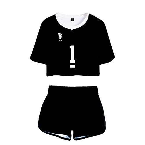 YZJYB Femme Anime Haikyuu!! Crop Top et Shorts Inarizaki High School été T-Shirt et Short Costumes Casual Tracksuits Sweat-Shirt Pyjama,Kita Shinsuke no.1,XXL