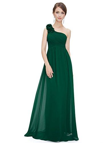 Ever-Pretty Abito da Sera Donna Chiffon A Fiori Una Spalla Stile Impero Senza Maniche Verde Scuro 50