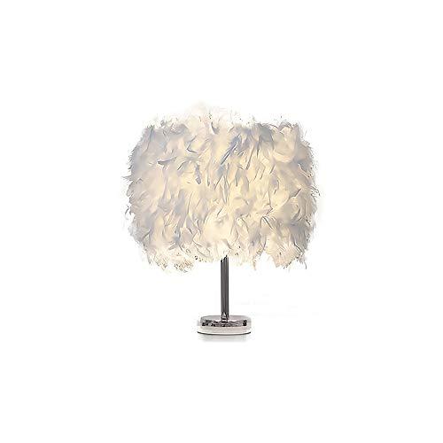 YChoice365 Tischlampen, weiße Feder Nachttischlampe, romantische Schlafzimmer dekorative Bucht Licht für Schlafzimmer Wohnzimmer Lesehochzeit