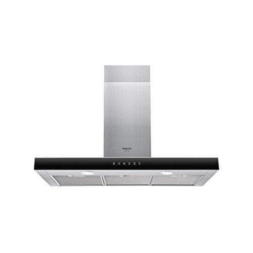Hotpoint Ariston – Hotte box HHBS 9.8F LT X Finition en acier inoxydable avec interface utilisateur en verre noir de 90 cm