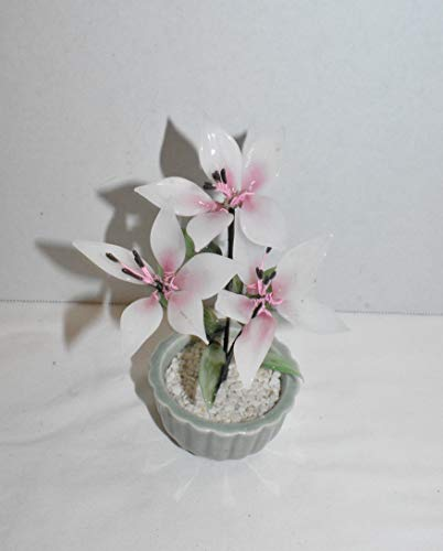 7' Oriental Pink & White Magnolia Flowers with Leaves Handcrafted Glass Bonsai Tree & Pot Wealth & Prosperity-Home Office Table Decor