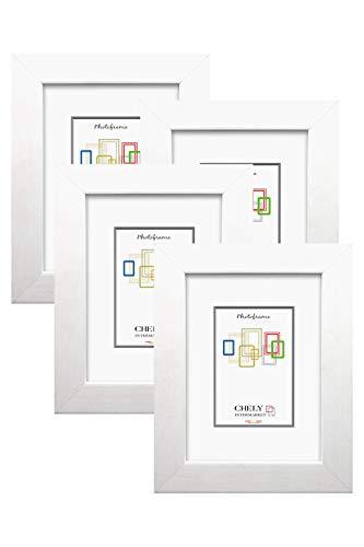 Chely Intermarket, Marcos de fotos 10x15cm MOD-204 (Blanco) (Pack 4uds) Estilo Galeria | Marcos para decoración de casa | Fotografías de boda | Fotos de paisajes | Listado de precio (204-10x15