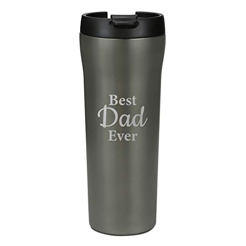 Best Dad Ever - Father's Gifts - MIRA 16 oz Stainless Steel Insulated Travel Thermos Mug for Coffee & Tea - Vacuum Insulated Car Tumbler Cup with Spill Proof Twist On Flip Lid - Gray Satin