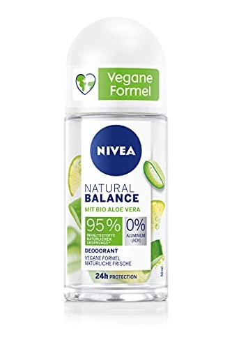 NIVEA Natural Balance Bio Aloe Vera Deo Roll-On (50ml), Deo mit Bio Aloe Vera und 0% Aluminium (ACH), Deodorant für natürliche Frische und zuverlässigen Schutz