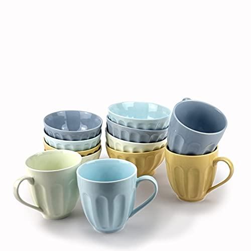 Vajilla completa porcelana desayuno diferentes colores - juego 12 piezas cuencos y tazas