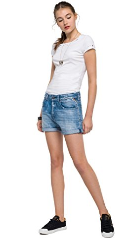 Replay Damen Jeansshort Shorts, Blau (Mid Blue 10), W28
