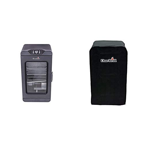 Char-Broil 19202101 Deluxe Black Digital Electric Smoker, Large, 725 Square Inch & Digital Electric Smoker Cover, 30