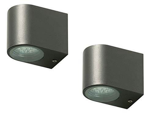 2er Set Ranex LED-Außenwandleuchte Bastia anthrazit, Aluminium downlight-Bündelung, IP44