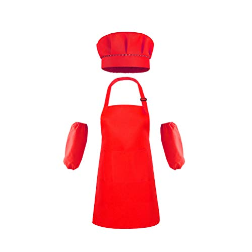 WBTY - Delantal de cocina y sombrero de cocinero para cocinar, hornear, pintura de fiesta, decoración