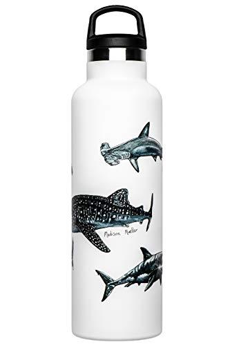 Fish Tank Botella térmica ilustrada Sharks Poster