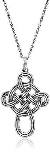 925 Sterling Silver Oxidized Celtic Knot Cross Pendant Necklace, 18'