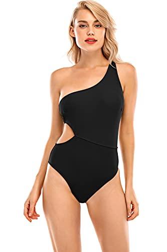 UMIPUBO Bikini de una pieza para mujer, traje de baño de una pieza sexy y un hombro a juego Negro S
