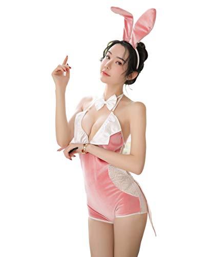 RONGYEE Bunny Cosplay Bunny Cosplay Dessous Köderhase Cosplay Sexy Dessous für Frauen Sexy Maid Kostüm Erotik Uniform - Pink - Einheitsgröße